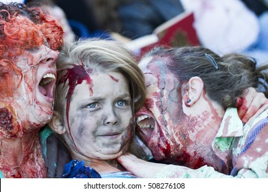 VICTORIA CANADA OCT 29 2016:  Zombies take over the Victoria down town during the 2016  Zombie Walk II. Young people in costumes of zombie  participating.  Zombie Walk is an annual event in Victoria.