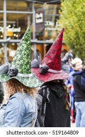 VICTORIA CANADA OCT 31 16: Crowded downtown with happy joyful people wearing Halloween, creative costumes,makeups on Wicked Victoria Day. The city has a torrid history that come to life at Halloween.