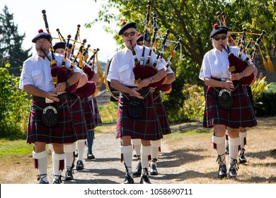 Victoria Canada Sept, 10 2017: Scottish bagpipes band before the match in