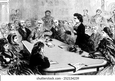 Victoria Claflin Woodhull, (1838-1927), first female candidate for President, addressing a Congressional committee on women's suffrage, 1872.