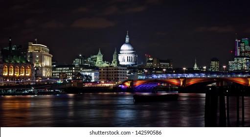 Victoria Embankment at night, London, England
