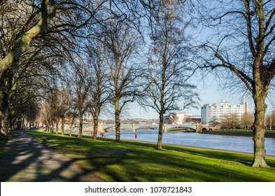 Victoria Embankment and the River Trent in Nottingham, England.