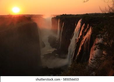 Victoria Falls,, Eastern Cataract at Sunset