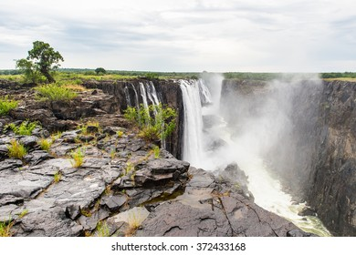 Victoria Falls from the Livingstone Island, named after the Scottish  explorer David Livingstone