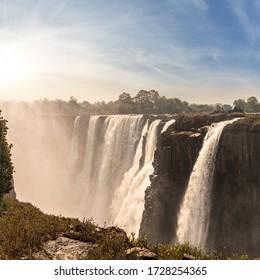 Victoria Falls (Mosi-oa-Tunya), view from Zimbabwe side at dry season
