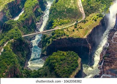 Victoria Falls on the Zambezi River, border between Zimbabwe and Zambia