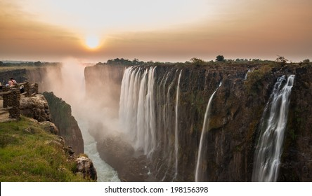 Victoria Falls sunset, Aussicht von Sambia
