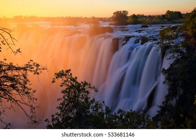 Victoria Falls at sunset. Zambia