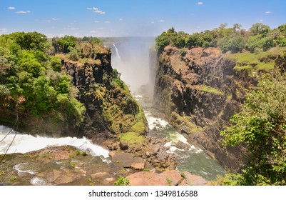 Victoria Falls is a waterfall near the cities of Victoria Falls in Zimbabwe and Livingstone in Zambia Africa