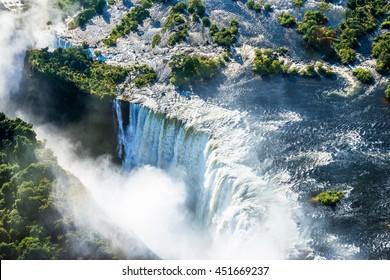 Victoria falls waterfall on Zambezi river from the air