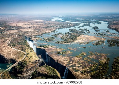 Victoria Falls, Zimbabwe, Africa. Aerial view from helicopter scenic flight