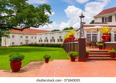 VICTORIA FALLS, ZIMBABWE - JAN 14, 2016: Decoration of the Victoria Falls hotel, historic hotel in Zimbabwe. The hotel was opened in 1904