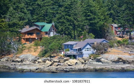 VICTORIA GEORGIA STRAIT BC CANADA JUNE 26 2015: Home in Strait of Georgia or the Georgia Strait is an arm of the Pacific Ocean between Vancouver Island, and the mainland coast of British Columbia,