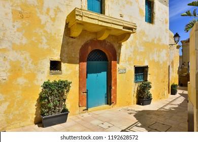Victoria, Gozo Island, Malta - May 05, 2018: Medieval Alley of Victoria's Citadel Interior