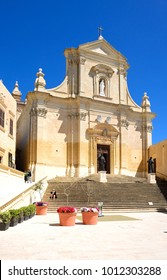 VICTORIA, GOZO, MALTA - APRIL 3, 2017 - Front view of the Cathedral within the citadel in Cathedral Square, Victoria (Rabat), Gozo, Malta, Europe, April 3, 2017.