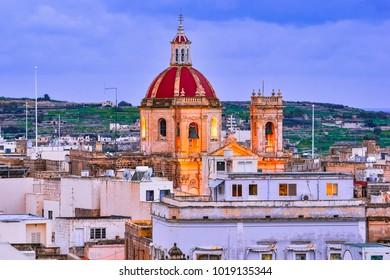 Victoria, Gozo, Malta: Overview of the city with Saint George Basilica, seen  from the citadel.