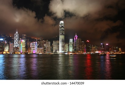 Victoria harbor by night