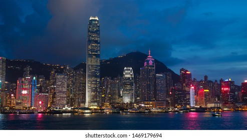 Victoria Harbor, Hong Kong 06 July 2019: Hong Kong at night