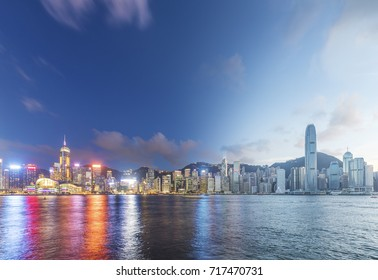 Victoria harbor of Hong Kong City, from day to night