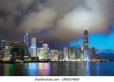 Victoria Harbor in Hong Kong at dusk