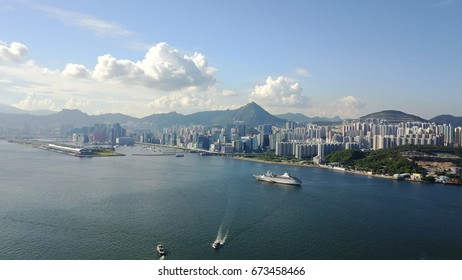 Victoria Harbor of Hong Kong. Former Kai Tak Internation Airport runways became Cruise Terminals currently.