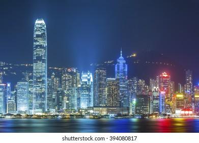 Victoria Harbor of Hong Kong at night