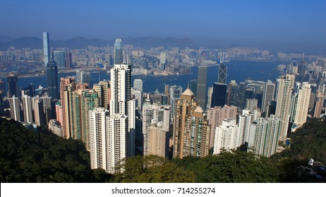 Victoria Harbor of Hong Kong skyline, aerial view from The Peak.