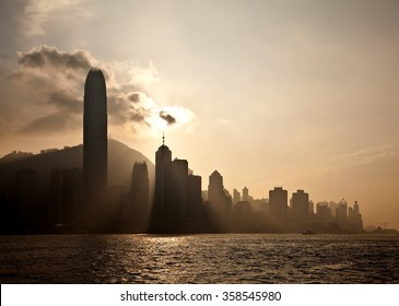 Victoria Harbor in Hong Kong at sunset