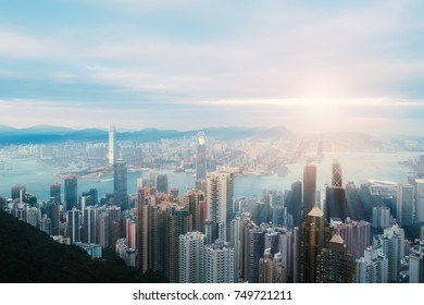 Victoria harbor Hong Kong at  sunset , View from Victoria Peak