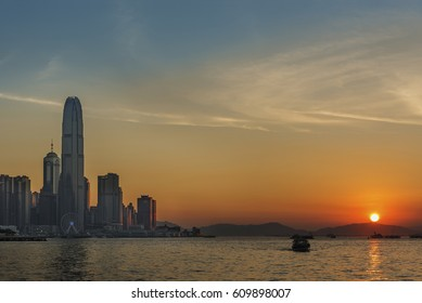 Victoria Harbor of Hong Kong under sunset