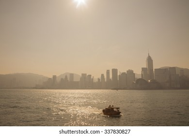 Victoria harbor skyline at beautiful sunrise time, Hong Kong.