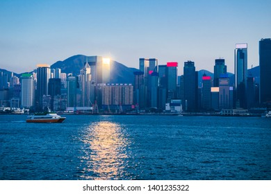 Victoria Harbor in sunset Hong Kong