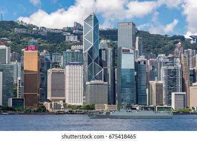 Victoria Harbour, Hong Kong  - June 11, 2017 : Huizhou (number 596) corvette leading other war ships to across Victoria harbour of Hong Kong returning naval base in mainland of China.