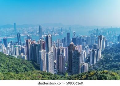 Victoria Harbour, Hong Kong, shot from the Peak HongKong February 2017