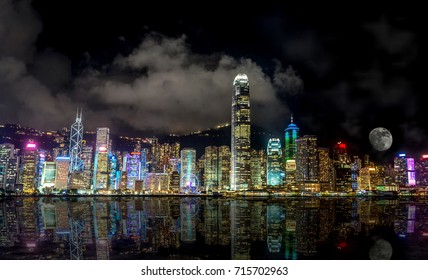 Victoria Harbour, Hong Kong skyline at night.