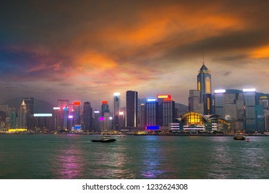 Victoria Harbour in Hong Kong at summer evening