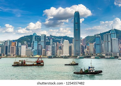 Victoria Harbour in Hong Kong at summer day