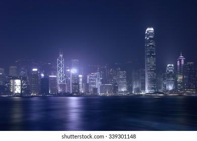 Victoria Harbour at night ,Hong Kong China