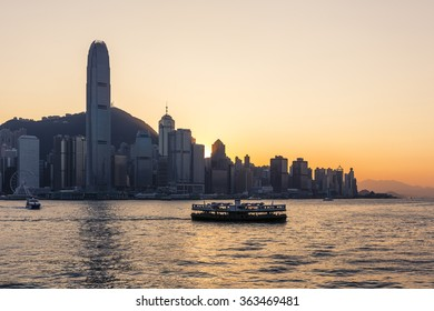 Victoria Harbour at sunset with Star Ferry, Hong Kong