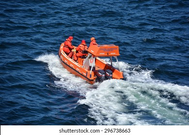 VICTORIA HARO STRAIT BC CANADA JUNE 26 2015: BC Ferry exercise a 'door-opener' for Peninsula marine-rescue Crew Training, Safety Drills & Familiarization.