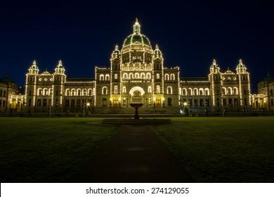 Victoria Legislature building at night