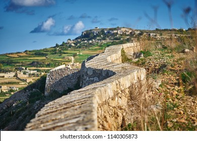 Victoria lines fortifications known as Great Wall of Malta