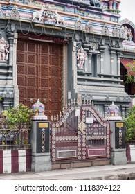 Victoria, Mahe island, Seychelles - March 2, 2017: The entrance of Sri Navasakthi Vinyagar Temple.