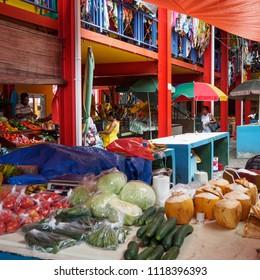 Victoria, Mahe island, Seychelles - March 2, 2017: Vegetables counter at Sir Selwyn Selwyn Clarke Market in the center of Victoria, the capital of Seychelles.