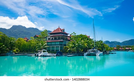 Victoria, Mahe, Seychelles -5 October, 2018: A beautiful view of marina at Eden Island Mahe Seychelles .The Eden Island Marina is an exclusive luxury complex for ultra expensive yachts near Victoria.