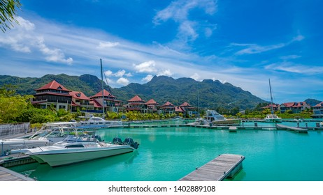 Victoria, Mahe, Seychelles -5 October, 2018: A beautiful view of marina at Eden Island Mahe Seychelles. The Eden Island Marina is an exclusive luxury complex for ultra expensive yachts near Victoria.