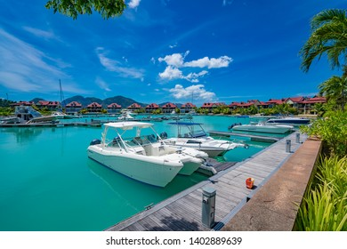 Victoria, Mahe, Seychelles -5 October, 2018: A beautiful view of marina at Eden Island Mahe Seychelles.The Eden Island Marina is an exclusive luxury complex for ultra expensive yachts near Victoria.