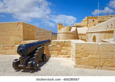 VIctoria, Malta - May 03, 2016: Cannon pointing to the Citadel, Gozo