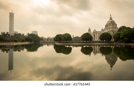 Victoria Memorial historical architectural building along with the city skyline in sepia tone at Kolkata, India.