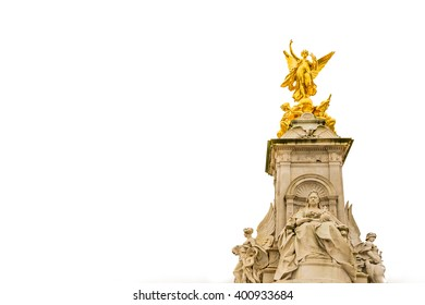 The Victoria Memorial isolated on white is a sculpture dedicated to Queen Victoria, sculpted by Sir Thomas Brock in London, placed at the centre of Queen's Gardens in front of Buckingham Palace.